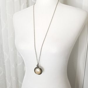 Avon - sterling silver pearl long pendant necklace